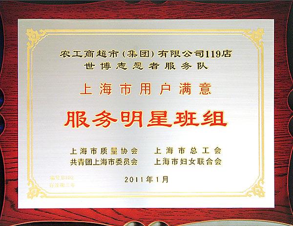 """[图文]119店世博志愿者服务队荣获""""2010年上海市用户满意服务明星班组"""